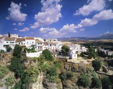 Houses on a gorge, old town of Ronda, Province Malaga, Andalusia, Spain Stock Photos