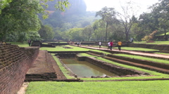 The view of gardens in Sigiriya, an ancient palace in Sri Lanka. Stock Footage