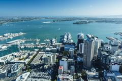 Auckland from the Sky Tower, Auckland, North Island, New Zealand - stock photo