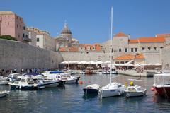 Harbour. Old Town, UNESCO World Heritage Site, Dubrovnik, Dalmatia, Croatia Stock Photos