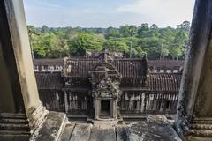 Upper terrace at Angkor Wat, Angkor, Siem Reap Province, Cambodia, Indochina - stock photo