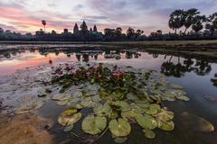 Sunrise over Angkor Wat, Angkor, Siem Reap Province, Cambodia, Indochina Stock Photos