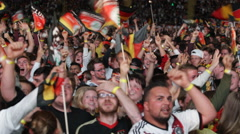 German Crowd People Celebrating Cheering Goal Germany Team in World Cup 2014 Stock Footage