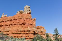 Red sandstone formations in Red Canyon, Dixie National Forest, Utah, USA - stock photo