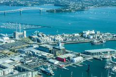 Auckland from the Sky Tower, Auckland, North Island, New Zealand Stock Photos