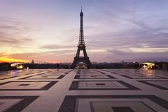 Trocadero and Eiffel Tower at sunrise, Paris, Ile de France, France, Europe Stock Photos