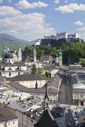 Stock Photo of Dom Cathedral and Kappuzinerkirche Church, Salzburg, Salzburger Land, Austria
