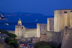 Old Town walls at dusk, UNESCO World Heritage Site, Dubrovnik, Dalmatia, Croatia - stock photo