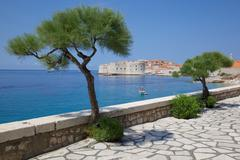 View of Old Town, UNESCO World Heritage Site, Dubrovnik, Dalmatia, Croatia - stock photo