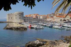 Harbour. Old Town, UNESCO World Heritage Site, Dubrovnik, Dalmatia, Croatia - stock photo