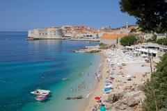 View of Old Town, UNESCO, and Ploce Beach, Dubrovnik, Dalmatia, Croatia Stock Photos