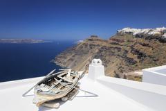 Firostefani to Imerovigli, Santorini, Cyclades, Aegean Sea, Greece Stock Photos