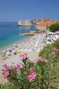 View of Old Town, UNESCO, and Ploce Beach, Dubrovnik, Dalmatia, Croatia Stock Photos