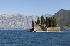 St. George's Island, Bay of Kotor, UNESCO World Heritage Site, Montenegro Stock Photos