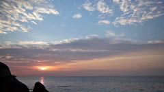 Beautiful quiet sunset over the ocean, Thailand Stock Footage