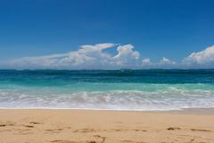 beautiful tropical beach with lush vegetation - stock photo