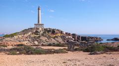 Landscape,seascape, lighthouse on the shore, La Manga, Spain. Stock Footage