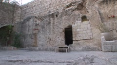 EMPTY TOMB IN JERUSALEM SLIDER SHOT Stock Footage