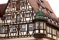traditional half timbered house in rothenburg ob der tauber - stock photo