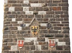 Eagles emblem on the wall in rothenburg od der tauber Stock Photos