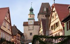 Historic tower in rothenburg ob der tauber Stock Photos