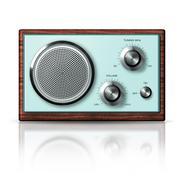 modern portable radio retro style - stock illustration
