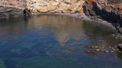 Lanscape, seascape, rocky sea shore in La Manga, Spain. Stock Footage