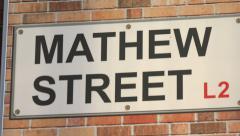 mathew street sign, liverpool, england - stock footage