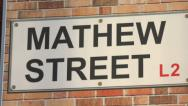 Stock Video Footage of mathew street sign, liverpool, england