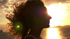 Happy and Free Woman at Sunset in Slow Motion. - stock footage