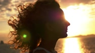 Stock Video Footage of Happy and Free Woman at Sunset in Slow Motion.