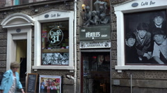 The beatles shop in mathew street, liverpool, england Stock Footage