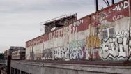 Stock Video Footage of Driving past Graffiti Wall in Jersey City, New Jersey in 4K
