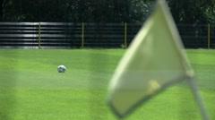 Corner yellow flag on soccer field Stock Footage