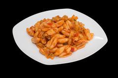 Macaroni with tomato sauce - stock photo