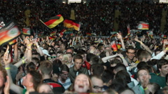 Happy Cheerful Football German Spectators Fans Celebrating Goal Men Woman Friend Stock Footage