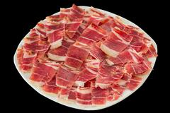 Dry-cured ham slices Stock Photos