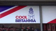 Cool britannia shop sign, england, uk Stock Footage