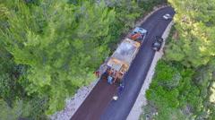 Road resurfacing on Island Mljet, aerial Stock Footage