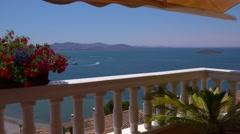 La Manga, Spain. Mar Menor lagoon view from balcony of townhouse, chalet. Stock Footage
