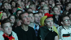 Cheerful Positive Crowd People Portraits German Football Team Fans Supporters Stock Footage