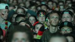 Painted Faces German Flag Audience Crowd Semifinals Germany Brazil WorldCup 2014 - stock footage