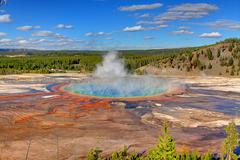 grand prismatic spring in yellowstone - stock photo