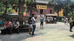 Lingyin Temple China time lapse 1 24 pan Stock Footage