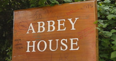 Abbey House sign, fans leave messages 4K Stock Footage