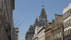 Liver buildings and water street, liverpool, england Stock Footage