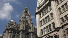 Liver buildings and tower building, water street, liverpool, england Stock Footage