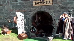 Europe Norway Geirangerfjord 038 shop entrance in a rustic stone house Stock Footage