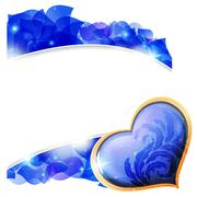 Blue valentines heart and  petals Stock Illustration