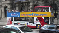 City explorer tour bus of liverpool, england Stock Footage